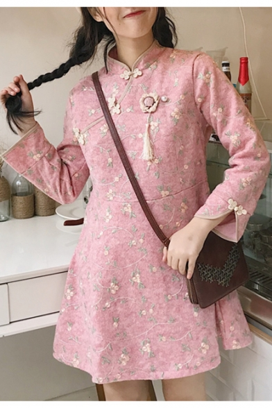 Chic Mini Embroidered Floral Up Swing Collar Dress Stand Long Sleeve r4qZ58rxw