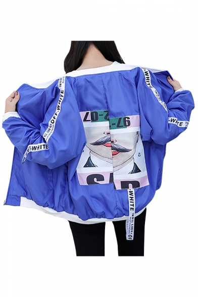 Chic Letter Graphic Print Long Sleeve Zipper Stand-Up Collar Jacket