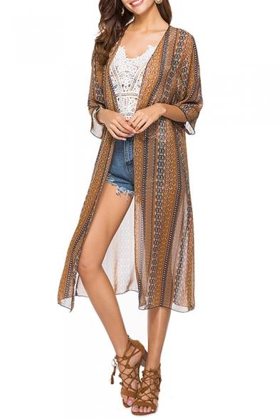 Chic Tribal Print Open Front Chiffon Longline Sun Proof Coat