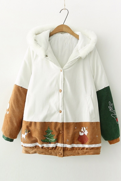 Childish Christmas Tree Angel Reindeer Printed Long Sleeves Button Down Hooded Padded Coat