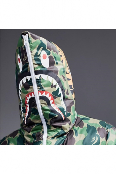 Camouflage Sleeve Coat Print Block Long Hooded Zipper Color 5wxa1ZIqx
