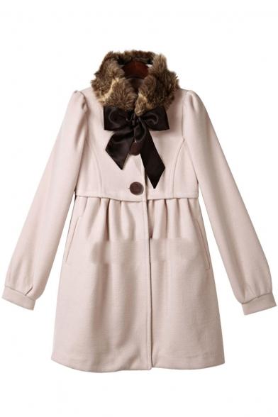 Fashion Faux Fur Collar Bow Long Sleeve Simple Plain Tunic Coat
