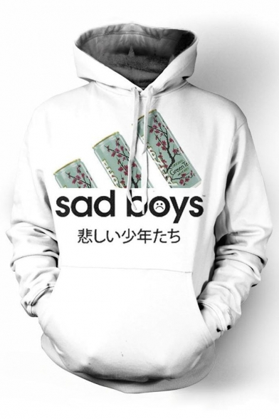 Fashion SAD BOYS Letter Print Drawstring Hood Long Sleeve Hoodie for Couple