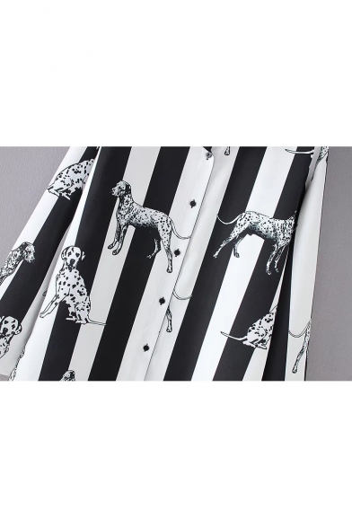 Fashion Striped Dog Print Lapel Long Sleeve Buttons Down Shirt