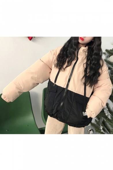 Cartoon Block Letter Flap Hooded with Color Pockets Zippered Quilted Fashionable Pattern Coat Cat wCXIcq