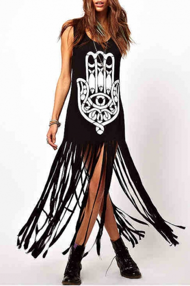 Fashionable Hand Tribal Printed Scoop Neck Monochrome Split Tasseled Hem Tank Shift Maxi Dress