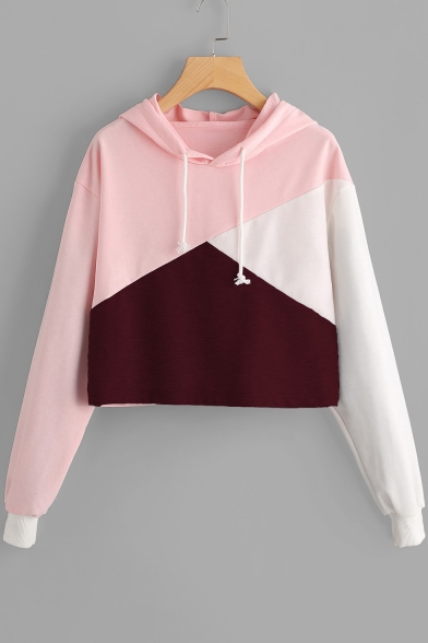 Pullover Cropped Long Hoodie Sleeves Girlish with Color Drawstring Block wCqHpxfnS