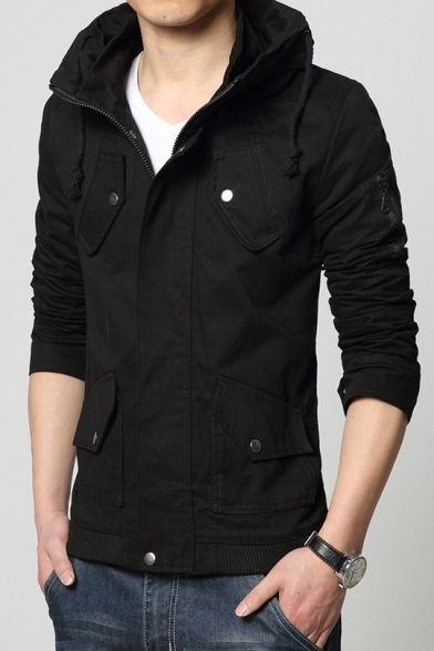 Men's New Fashion Simple Plain Long Sleeve Zip Up Coat