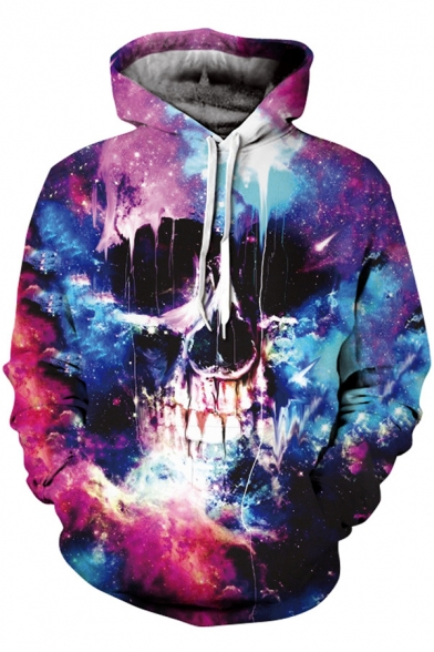 New Stylish 3D Galaxy & Skull Print Long Sleeves Drawstring Hoodie