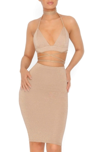 Sexy Halter Neck Low-cut Strappy Waist Bodycon Skirt Slim-Fit Midi Dress