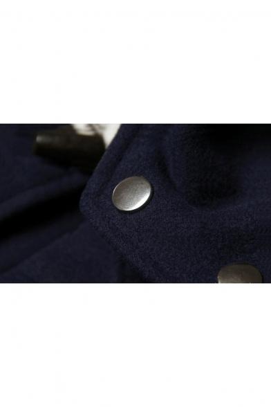 Simple Plain Long Sleeve Hooded Toggle Tunic Coat with Flap Pocket