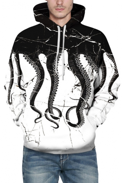 Stylish Octopus Printed Drawstring Long Sleeves Unisex Hoodie with Pocket