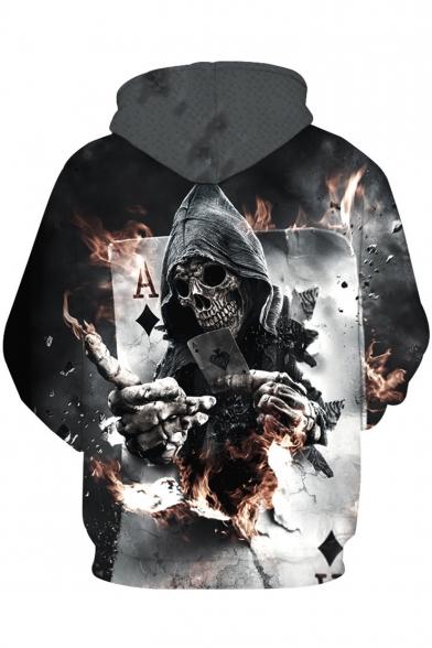 3D Long Drawstring Hoodie Print Trendy Skull Sleeves dqtdvA