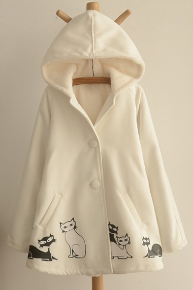 Trendy Cats Printed Faux Fur Padded Hooded Winter Cape with Double Buttons & Pockets