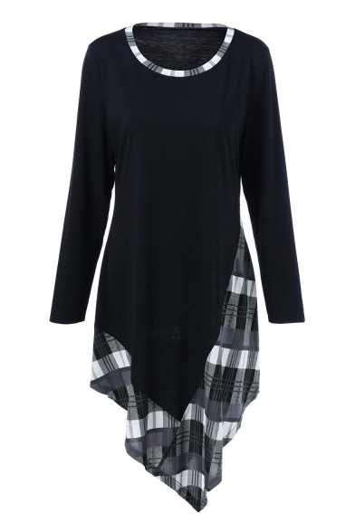 Trendy Plaid Print Round Neck Long Sleeve Midi Asymmetric Dress