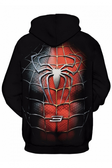 Pattern with Trendy Long Hoodie Pocket Web Pullover Unisex Sleeves Spider FwwEq8g