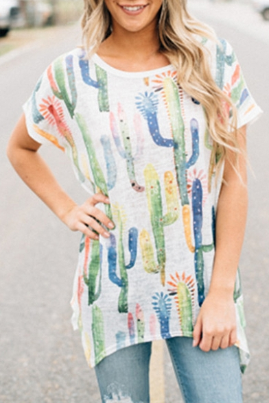 High Short Low Tunic Tee Neck Allover Printed Sleeves Cactus Hem Boat Casual xgB0AwOqq