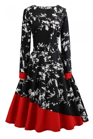 3b7ef7c7076 Chic Color Block Floral Round Neck Long Sleeve Fit & Flare Midi Dress -  Beautifulhalo.com