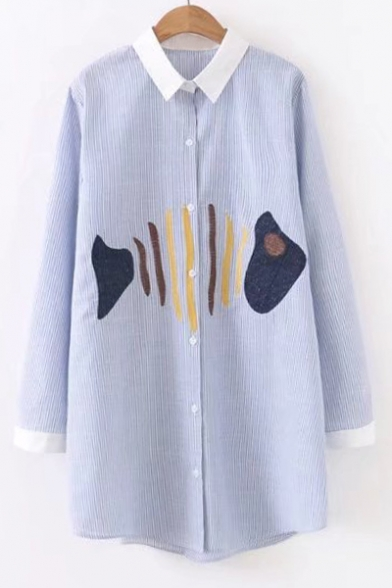 Fish Sleeve Long Breasted Shirt Lapel Pattern Bone Chic Single Contrast Tunic Striped dxwY0Rpd7q
