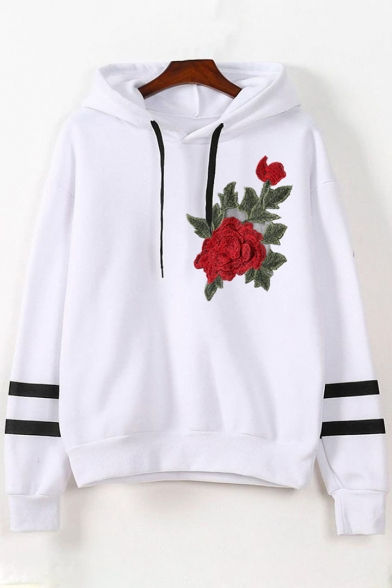 Trendy Floral Hoodie Pullover Loose Embroidered Striped Chic Sleeves Long C0zzgw