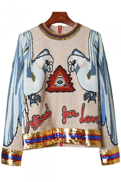 Parrot Round Neck Sleeve Sweater Long Embroidered Letter Chic Sequined dXwPfdq