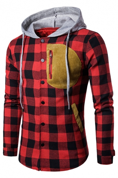 Classic Sleeve Breasted Hooded Long Plaid Coat Single rgPfrEq