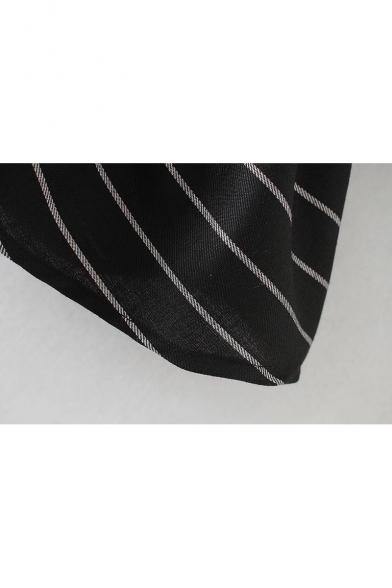 Fashion Embroidered Striped Ruffle Hem Round Neck Long Sleeve Shift Mini Dress