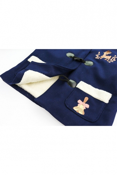Fashion Embroidery Deer Bell Pattern Long Sleeve Hooded Coat