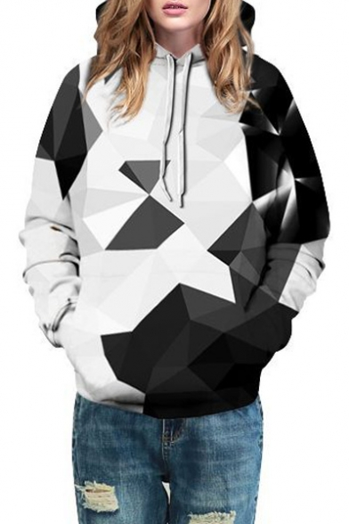Printed Hoodie Fashionable Long Geometric Pullover Pocket Sleeves with SqcwR5OZH