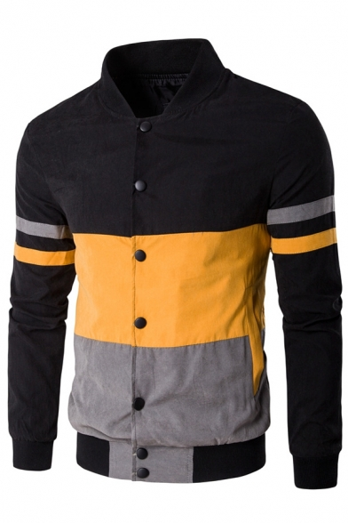 Men's Fashion Color Block Striped Long Sleeves Button Down Baseball Jacket with Pockets
