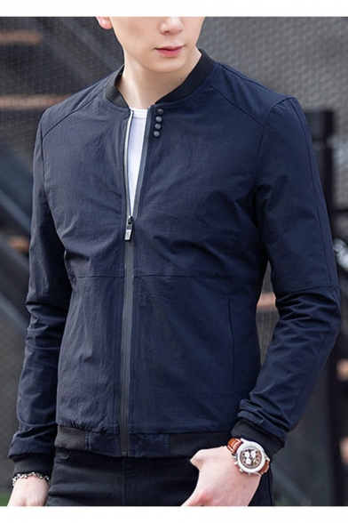 Men's Leisure Simple Plain Stand-Up Collar Zip Up Long Sleeve Coat