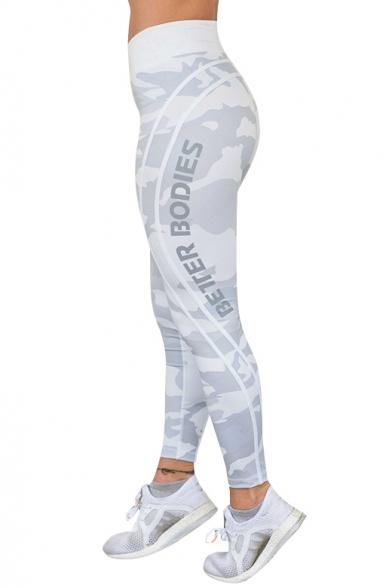 New Fashion Camouflage Letter Print Elastic Waist Leggings