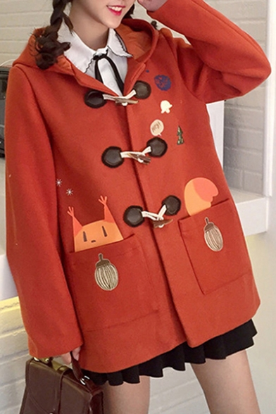 New Print Long Cartoon Buttons Sleeve Fashion Leisure Coat Down Hooded qrBqxRf