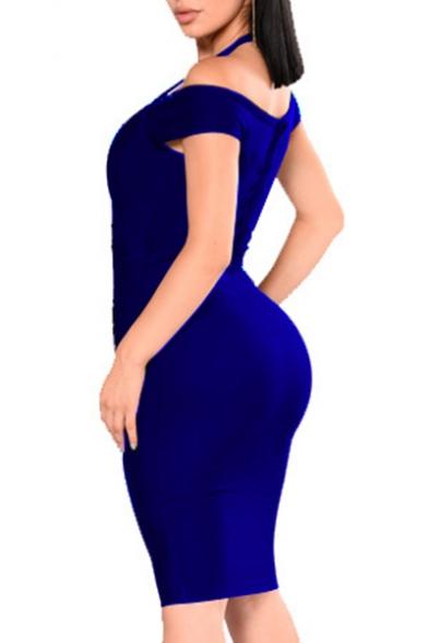Sexy Halter Neck Short Sleeve Plain Grommet Embellished Bodycon Dress