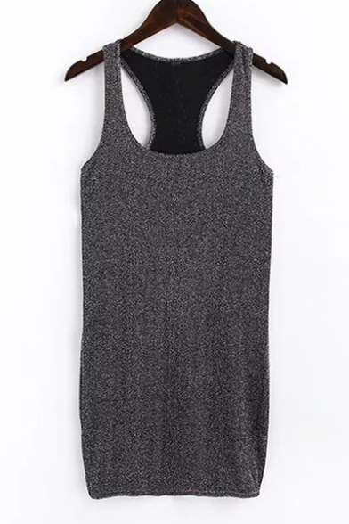 Sexy Low-cut Sleeveless Plain Bodycon Mini Tank Dress