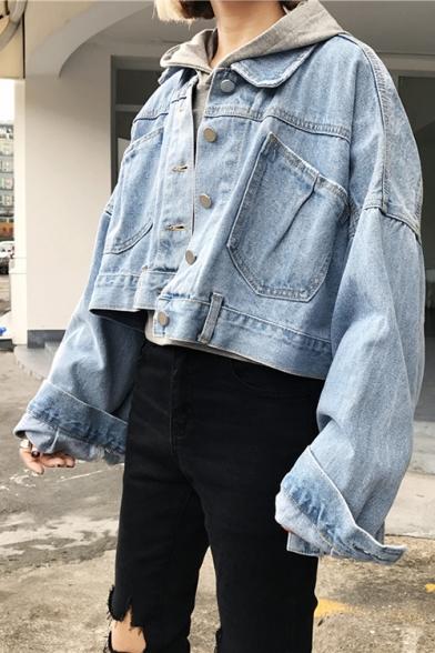 Simple Plain Crisscross Back Lapel Long Sleeve Buttons Down Cropped Denim Jacket