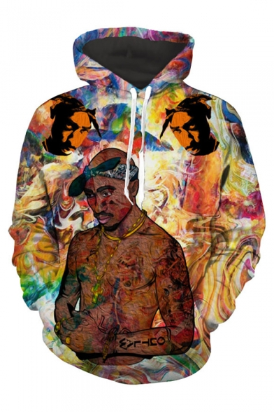 Stylish Hip-Hop Rapper Graffiti Printed Long Sleeves Pullover Hoodie with Pocket
