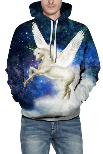 Stylish Unicorn Pegasus Galaxy Pattern Long Sleeves Pullover Hoodie with Pocket
