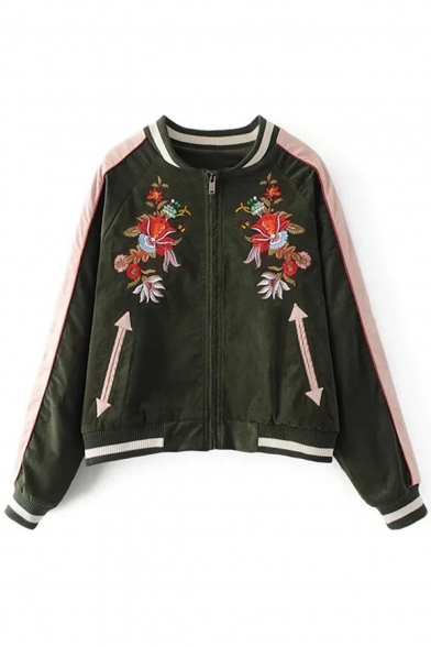 Trendy Floral Embroidered Striped Trim Long Sleeves Zippered Baseball Jacket with Pockets LC459309 фото