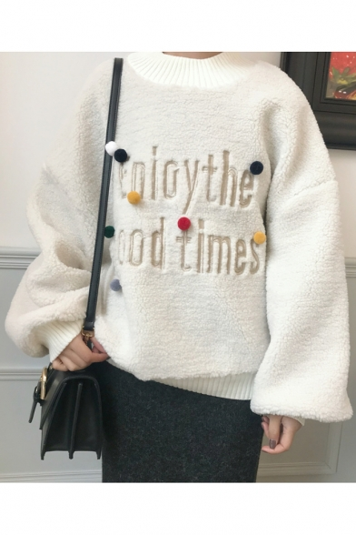 Pullover Neck Long Over Crew Collection Winter with Pompoms Sweater Letter Sized Loose Pattern Sleeves 4XvwUIqwx