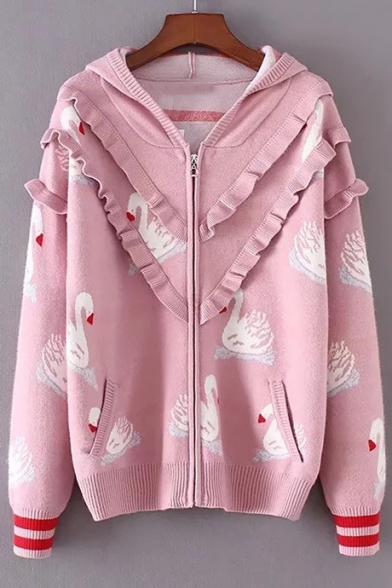 Adorable Allover Swan Pattern Ruffled Long Sleeves Zippered Hooded Cardigan with Pockets
