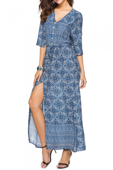 Bohemian Style Print V-Neck Half Sleeve Split Side Button Beach Dress