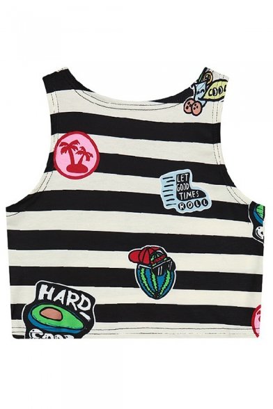 Cropped Tank Top Striped Printed Round Cartoon Monochrome Neck Casual wxY0g8Tq