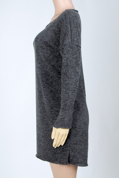 Casual Round Neck Long Sleeves Split-Side Hem Pullover Mini Sweater Dress