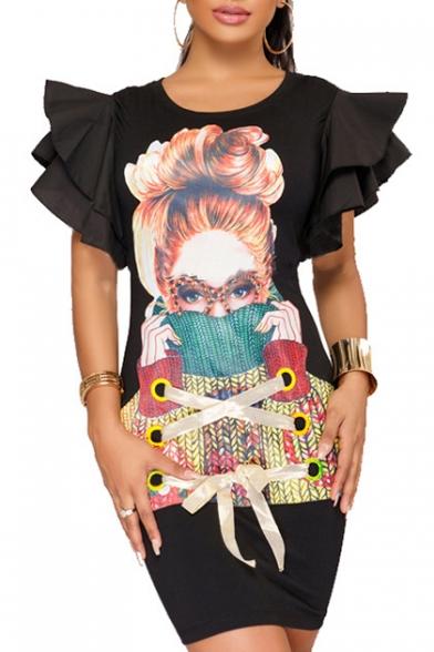 Chic Cartoon Character Print Tie Front Ruffle Short Sleeve Round Neck Bodycon Dress