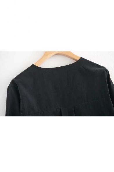 Blouse Simple Flared Round Cuff Long Neck Fashion Sleeve Plain qOAZw8