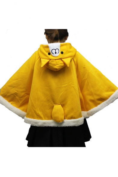 Fashionable Color Block Faux Fur Trimmed Double Buttons Cat Ears Hooded Cape with Pompons & Tail