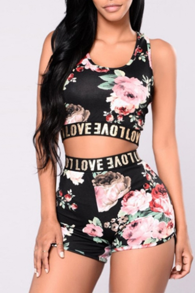 Fashionable Digital Floral Letter Print Cropped Tank Shorts Sport Co-ords