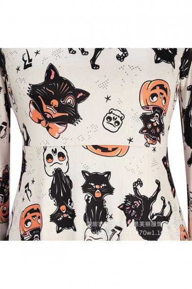 Halloween Style Cat Pumpkin Pattern Scoop Neck Long Sleeves A-line Mini Dress