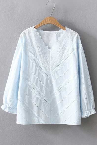 Ladylike V-Neck 3/4 Sleeves Lace Panel Hollow-out Plain Loose Blouse